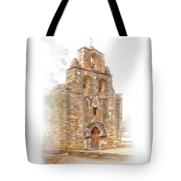 Tote Bag featuring the photograph Mission San Francisco De La Espada In Faux Pencil Drawing  by David and Carol Kelly