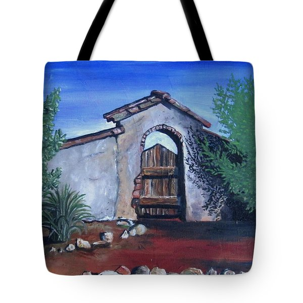 Tote Bag featuring the painting Rustic Charm by Mary Ellen Frazee