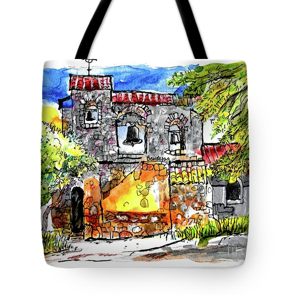 Tote Bag featuring the painting Mission San Miguel by Terry Banderas