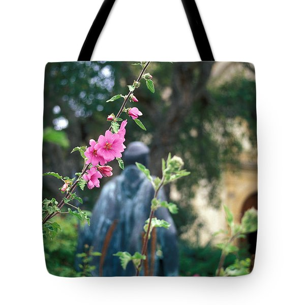 Mission Statue And Flower Tote Bag by Kathy Yates