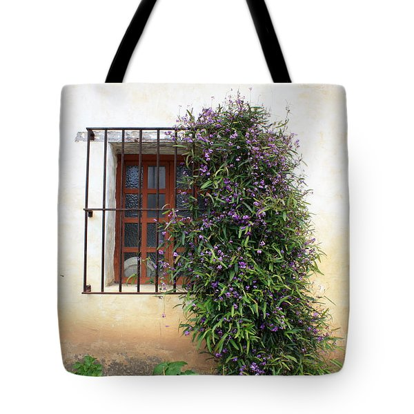 Mission Window With Purple Flowers Tote Bag by Carol Groenen