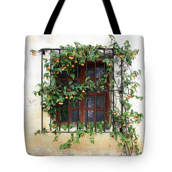 Mission Window With Yellow Flowers Vertical Tote Bag by Carol Groenen