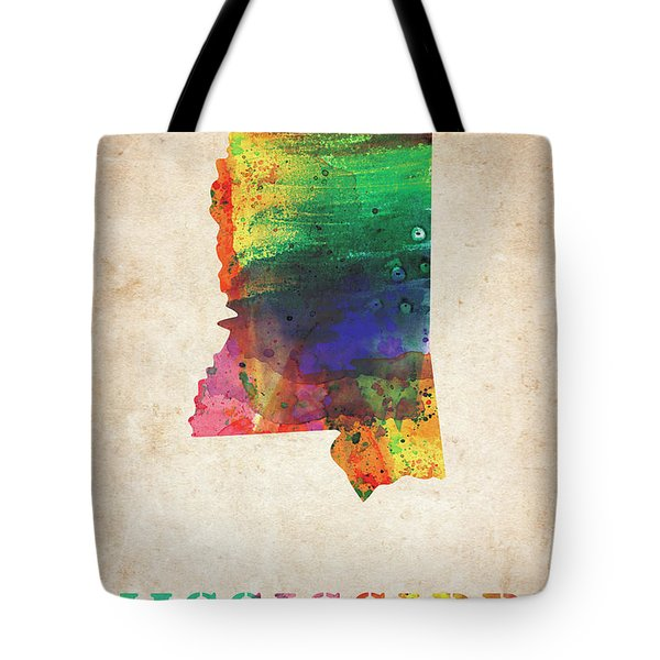 Mississippi Colorful Watercolor Map Tote Bag