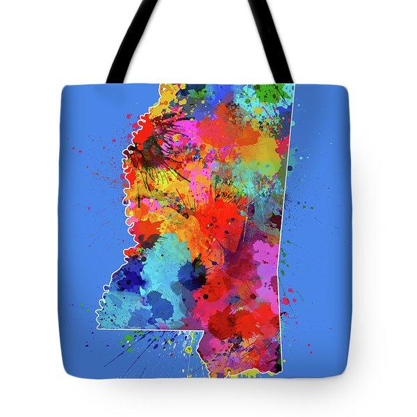 Mississippi Map Color Splatter 3 Tote Bag