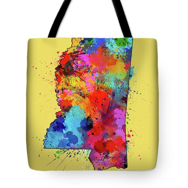 Mississippi Map Color Splatter 4 Tote Bag