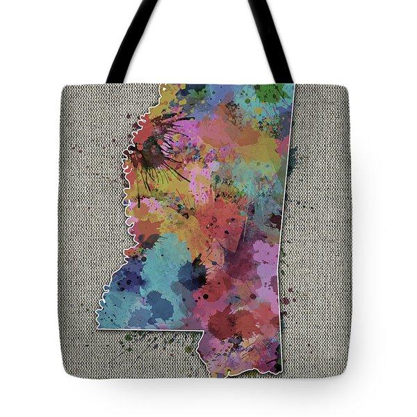 Mississippi Map Color Splatter 5 Tote Bag