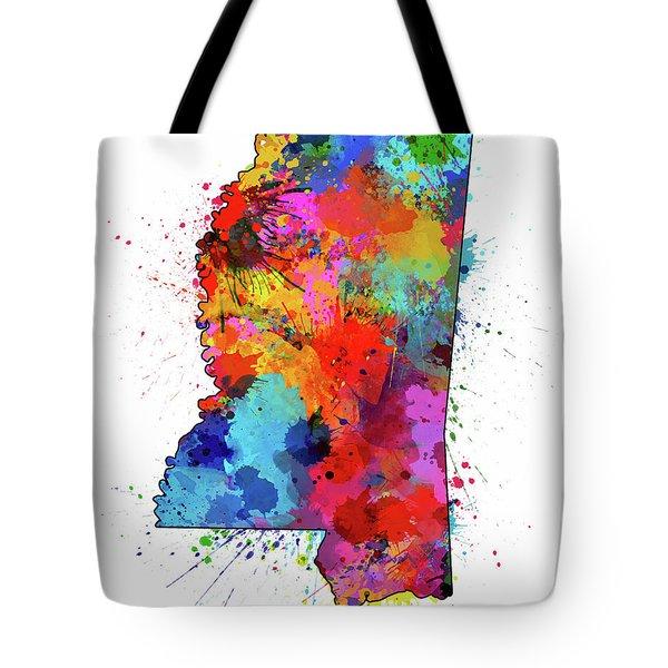 Mississippi Map Color Splatter Tote Bag