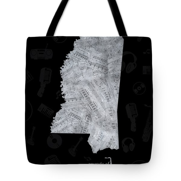 Mississippi Map Music Notes 2 Tote Bag