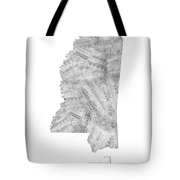 Mississippi Map Music Notes Tote Bag