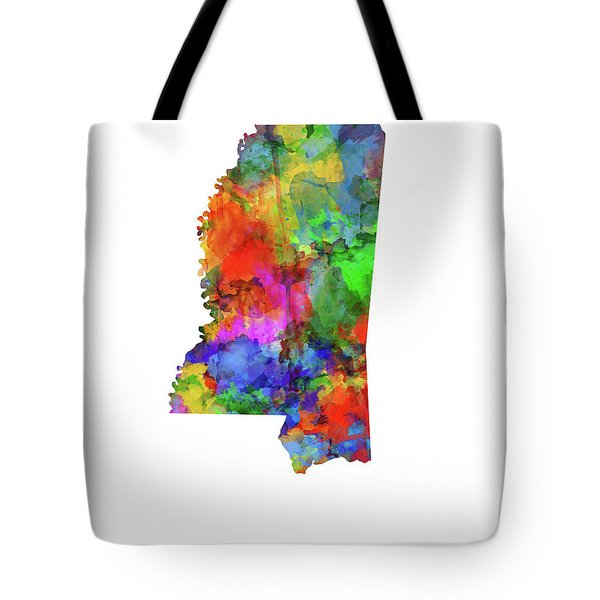 Mississippi Map Watercolor Tote Bag