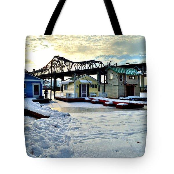 Mississippi River Boathouses Tote Bag