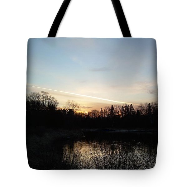 Tote Bag featuring the photograph Mississippi River Colorful Dawn Clouds by Kent Lorentzen