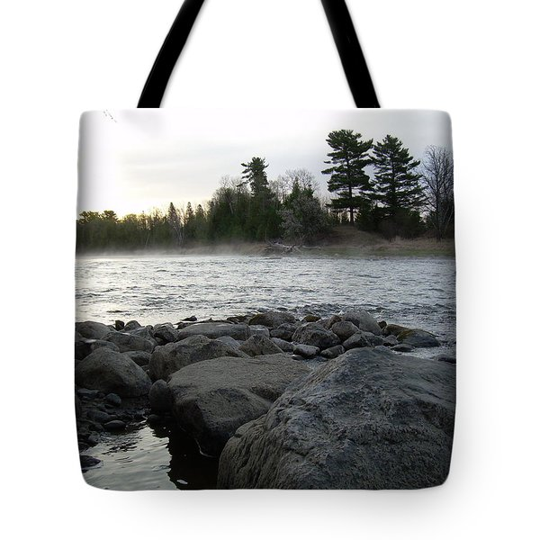 Tote Bag featuring the photograph Mississippi River Dawn Over The Rocks by Kent Lorentzen
