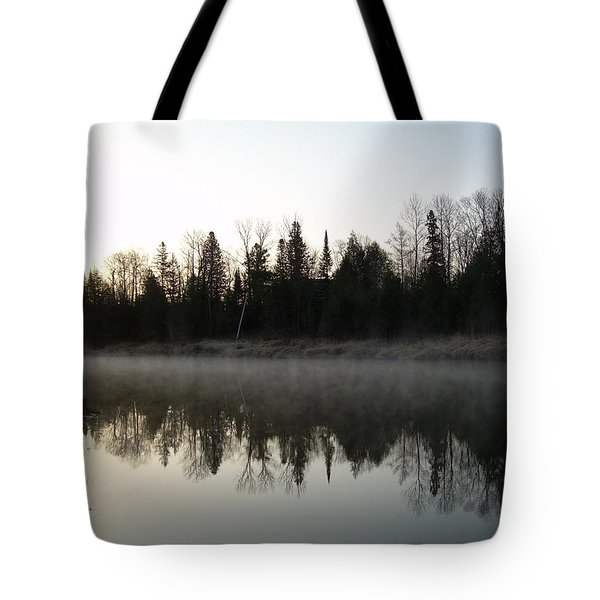 Tote Bag featuring the photograph Mississippi River Fog Reflection by Kent Lorentzen
