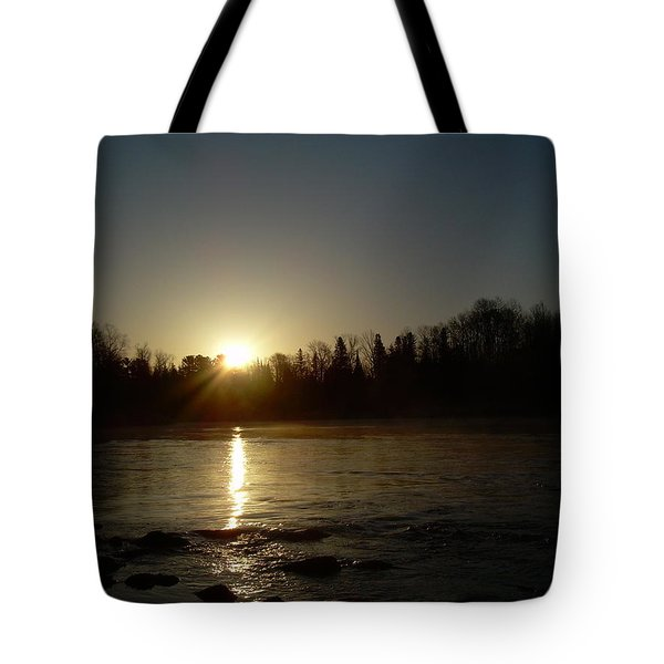 Tote Bag featuring the photograph Mississippi River Golden Sunrise by Kent Lorentzen