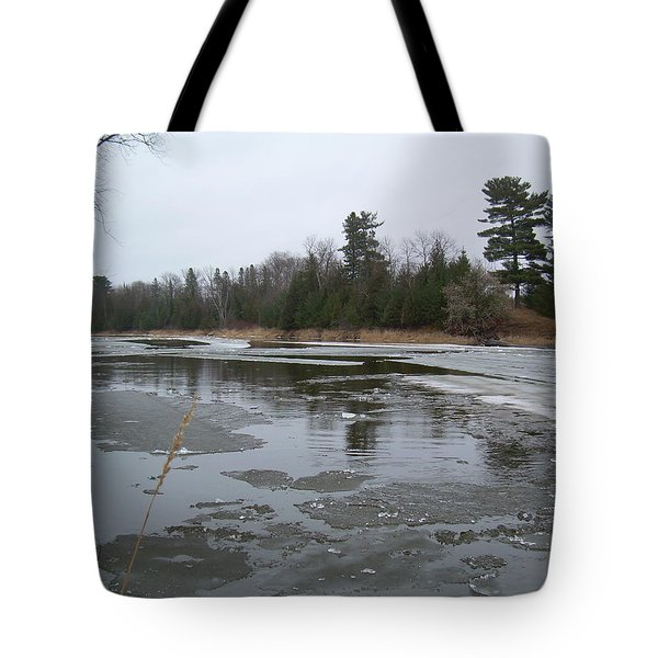Tote Bag featuring the photograph Mississippi River Ice Flow by Kent Lorentzen
