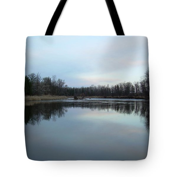 Tote Bag featuring the photograph Mississippi River Morning Reflection by Kent Lorentzen