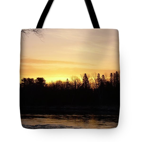 Tote Bag featuring the photograph Mississippi River Orange Sky by Kent Lorentzen
