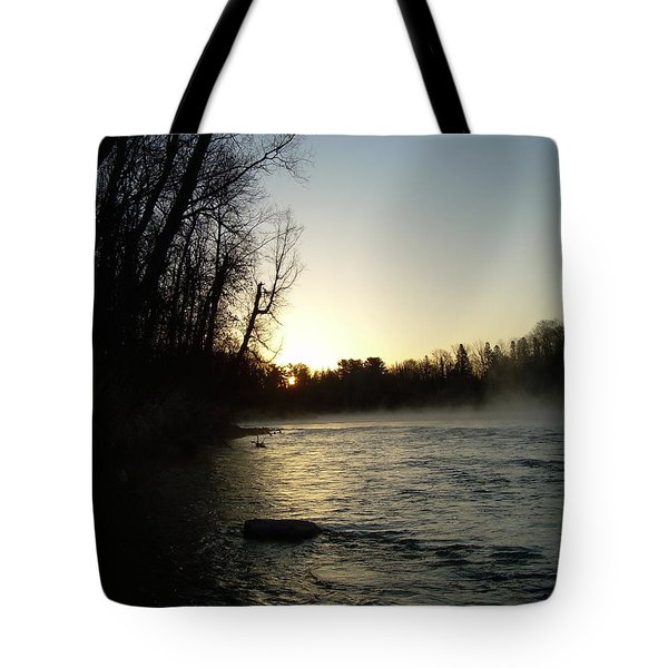 Tote Bag featuring the photograph Mississippi River Sunrise Shadow by Kent Lorentzen