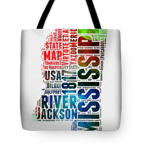 Mississippi Watercolor Word Cloud  Tote Bag