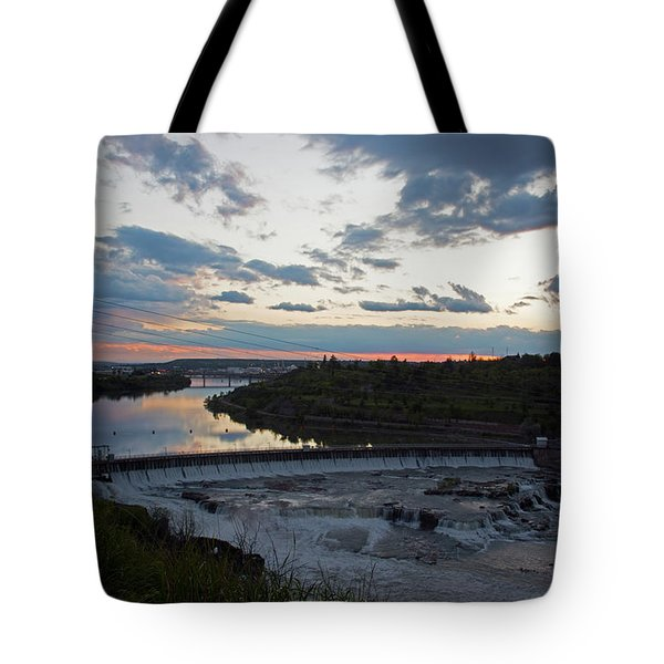 Missouri River Black Eagle Falls Mt Tote Bag by Cindy Murphy - NightVisions