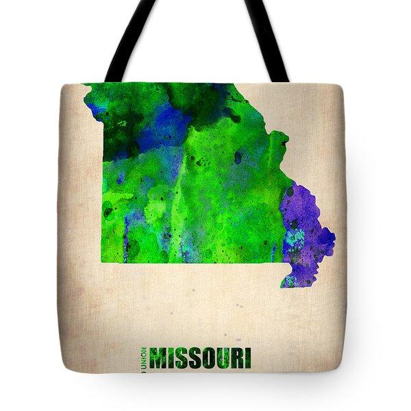 Missouri Watercolor Map Tote Bag