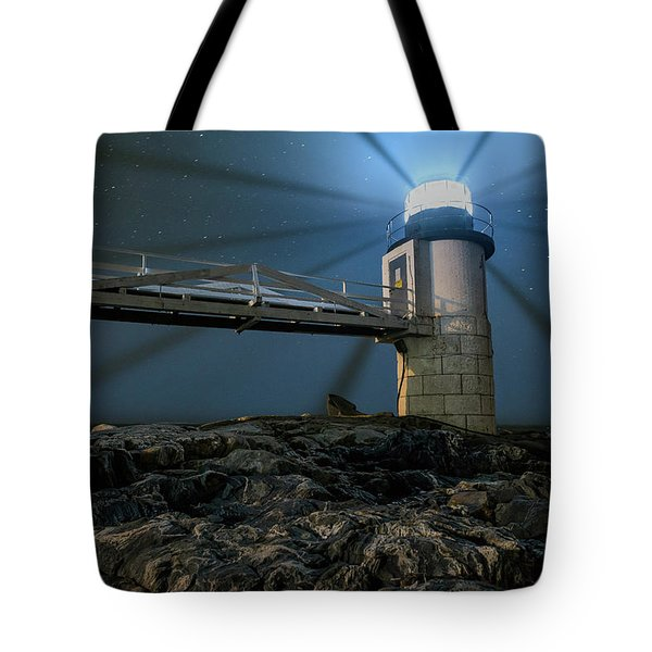 Mist At Marshall Point Light Tote Bag