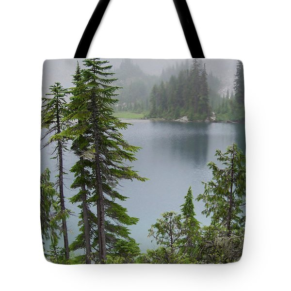 Tote Bag featuring the photograph Mist At Snow Lake by Charles Robinson
