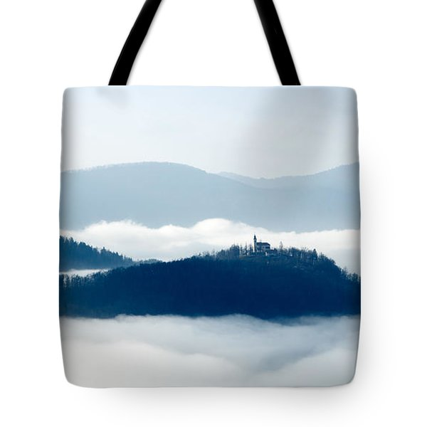Mist Over Church Of Maria Tote Bag