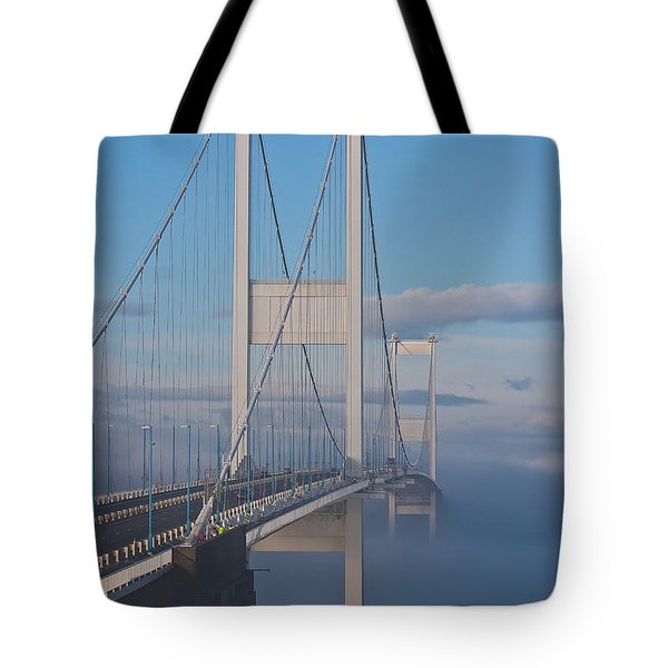 Mist Over The Severn Tote Bag by Brian Roscorla