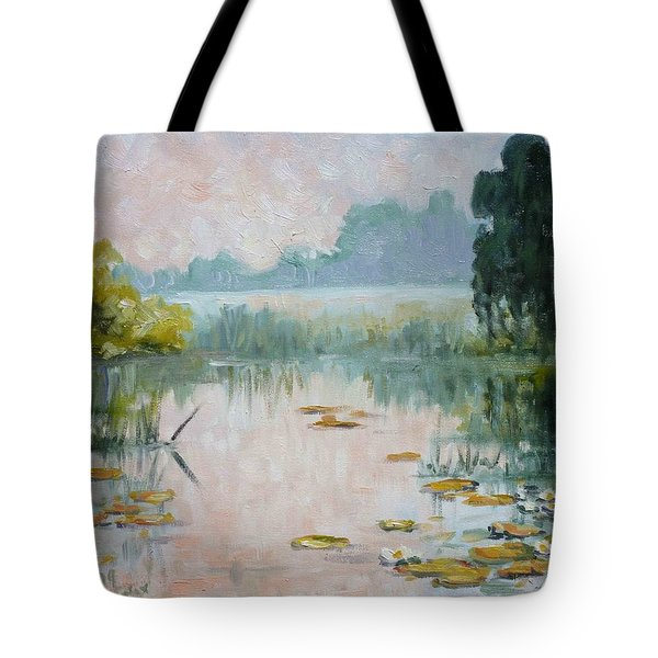 Mist Over Water Lilies Pond Tote Bag by Irek Szelag