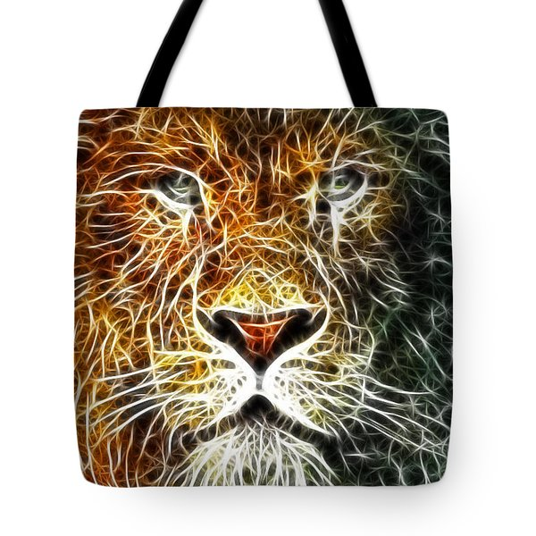 Tote Bag featuring the mixed media Mistical Lion by Paul Van Scott