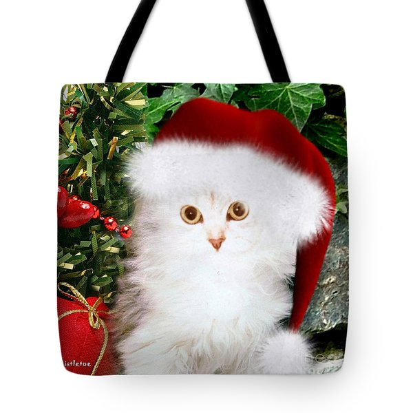 Tote Bag featuring the mixed media Mistletoe At Christmas by Morag Bates