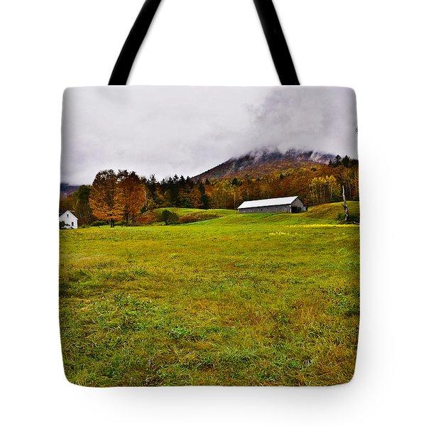Misty Autumn At The Farm Tote Bag
