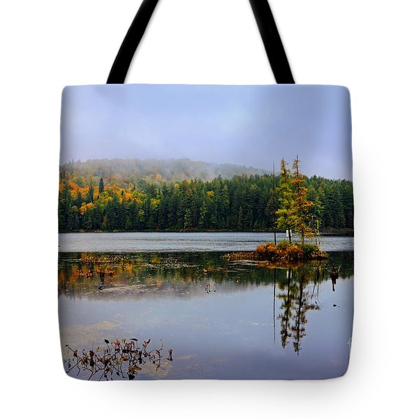 Misty Autumn Landscape In Canada Tote Bag by Charline Xia