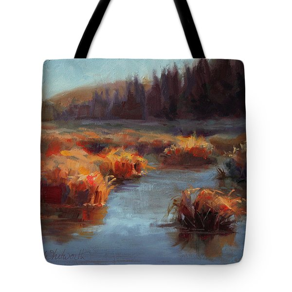 Tote Bag featuring the painting Misty Autumn Meadow With Creek And Grass - Landscape Painting From Alaska by Karen Whitworth