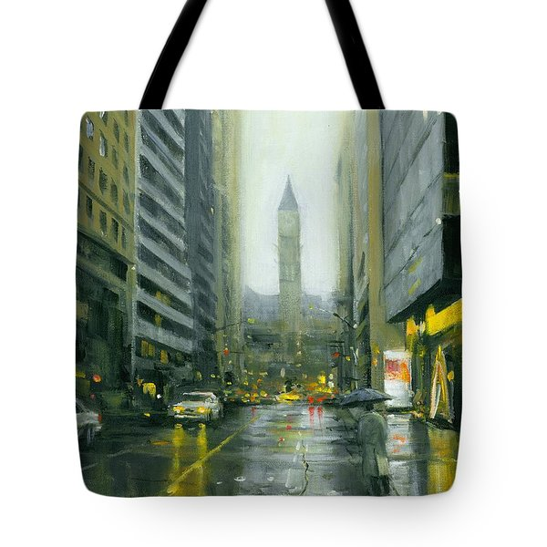 Misty Bay Street Tote Bag by Michael Swanson