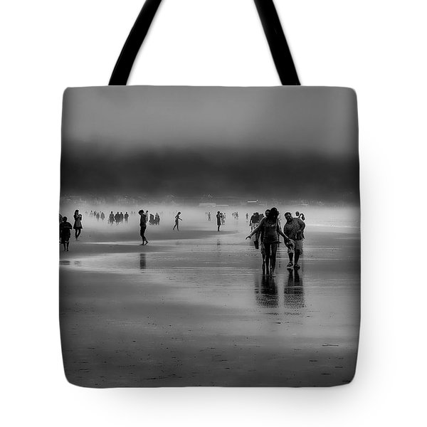 Misty Beach Tote Bag by David Patterson