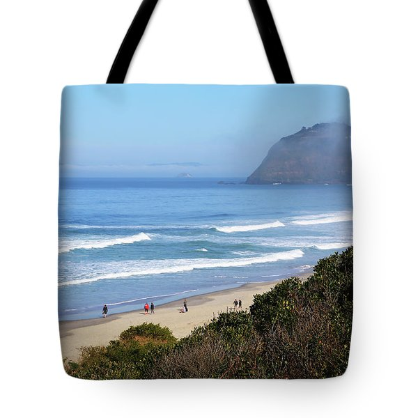 Misty Beach Morning Tote Bag
