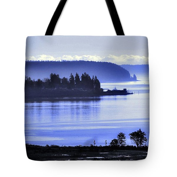 Tote Bag featuring the photograph Misty Blue Steilacoom by Chris Anderson