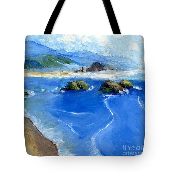 Misty Bodega Bay Tote Bag by Randy Sprout