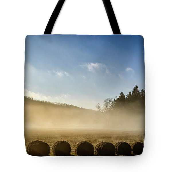Tote Bag featuring the photograph Misty Country Morning by Thomas R Fletcher