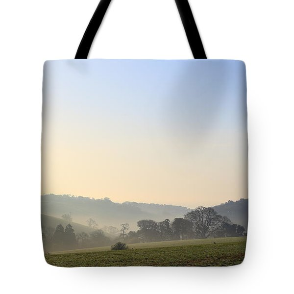 Misty Dawn Over The Cornish Countryside Tote Bag
