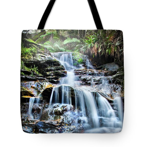 Tote Bag featuring the photograph Misty Falls by Az Jackson