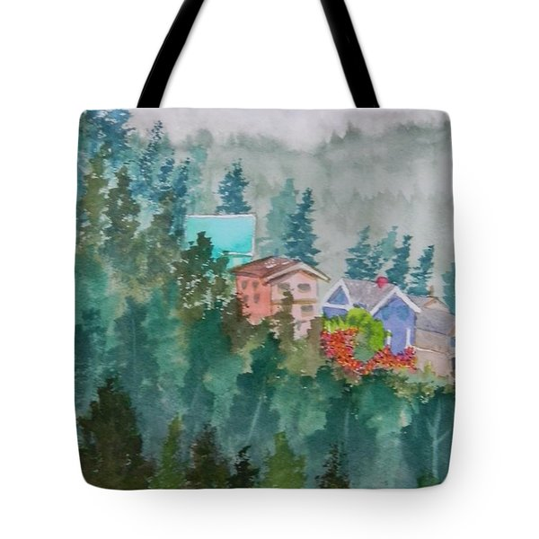 Misty Fog And Color Over Ketchikan Alaska Tote Bag by Warren Thompson