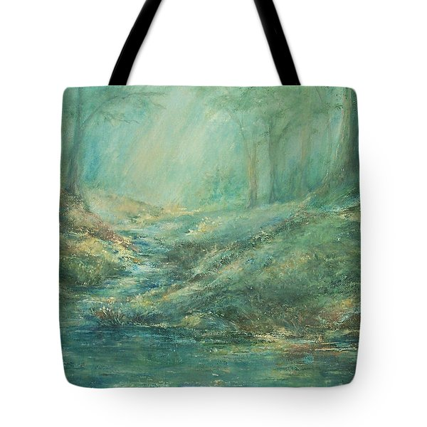 The Misty Forest Stream Tote Bag by Mary Wolf
