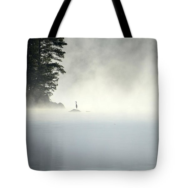 Misty Heron Tote Bag
