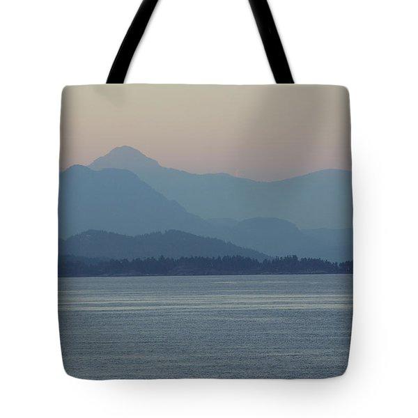 Misty Hills On The Strait Tote Bag