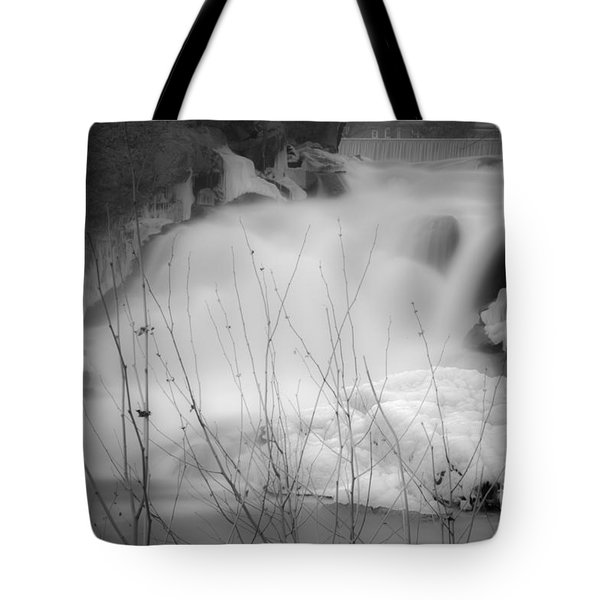 Misty Icy Waterfall Tote Bag
