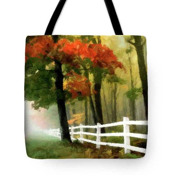 Tote Bag featuring the painting Misty In The Dell P D P by David Dehner